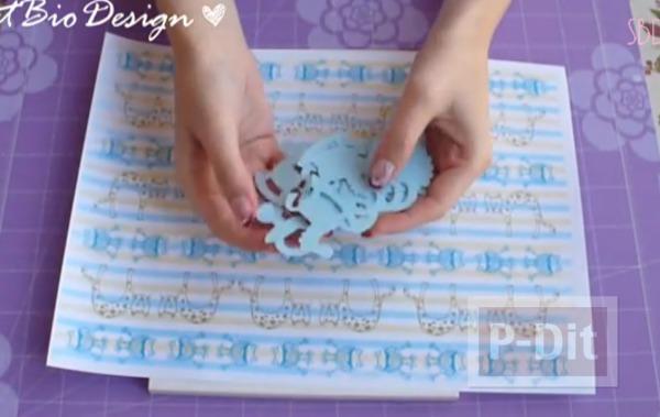 รูป 5 กรอบรูป ตกแต่งสีฟ้า เด็กน้อยน่ารัก
