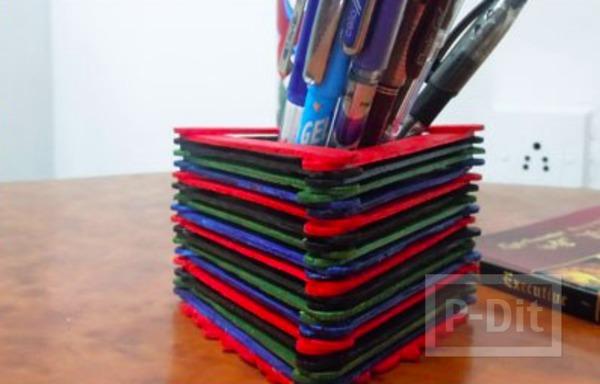 ทำที่ใส่ดินสอ จากไม้ไอติมย้อมสี