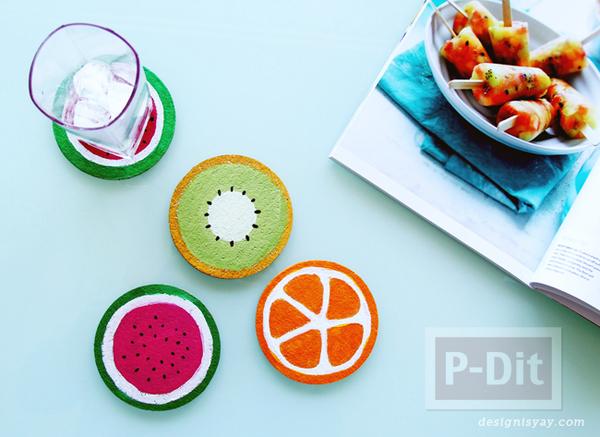 รูป 1 จานรองแก้ว ลายผลไม้ ระบายสีน้ำ