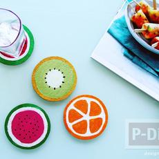 จานรองแก้ว ลายผลไม้ ระบายสีน้ำ