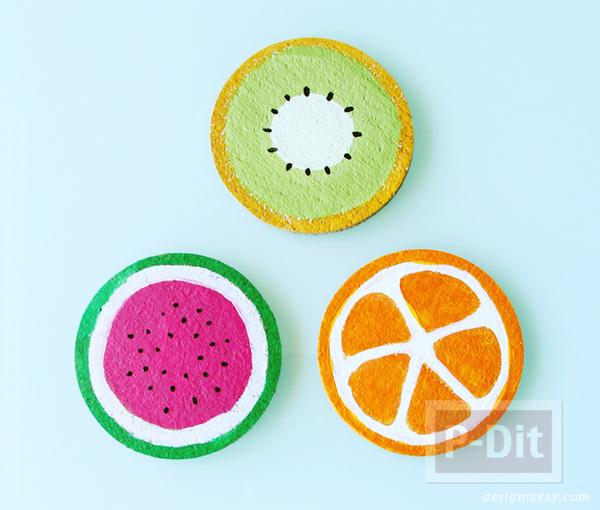 รูป 4 จานรองแก้ว ลายผลไม้ ระบายสีน้ำ