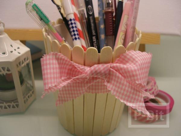 ที่ใส่ดินสอ กระถางดอกไม้ ตกแต่งจากไม้ไอติม