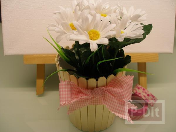 รูป 3 ที่ใส่ดินสอ กระถางดอกไม้ ตกแต่งจากไม้ไอติม