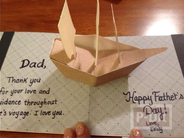 รูป 1 ไอเดียการ์ด ป็อบอัพ วันพ่อ เรือกระดาษสวยๆ