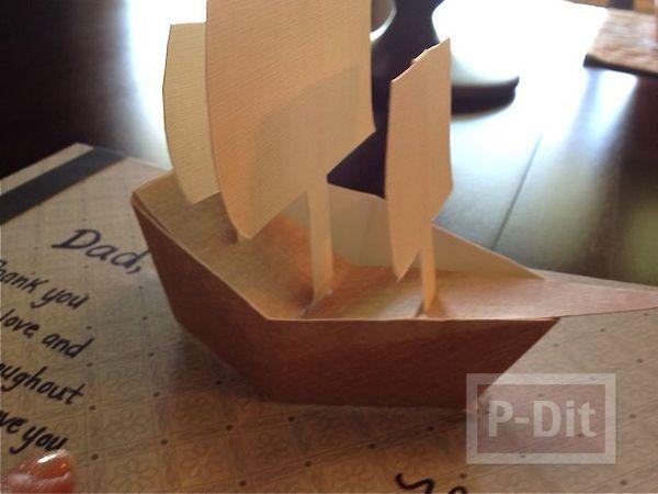 รูป 3 ไอเดียการ์ด ป็อบอัพ วันพ่อ เรือกระดาษสวยๆ