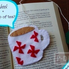 ที่คั่นหนังสือจากผ้า ทำเอง ถ้วยชาน่ารักๆ
