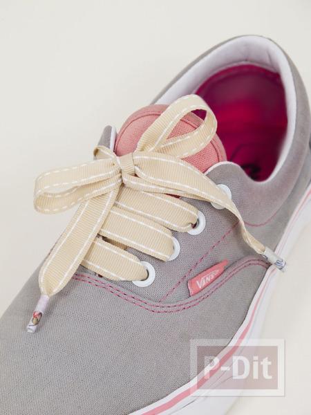 รูป 4 เชือกผูกรองเท้า ทำจากริบบิ้น