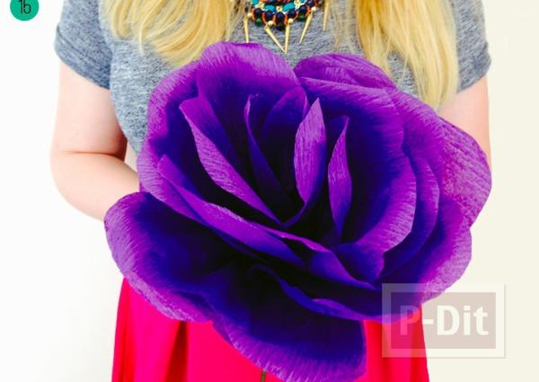 รูป 1 ดอกไม้ประดิษฐ์ดอกใหญ่ๆ ทำจากกระดาษย่น