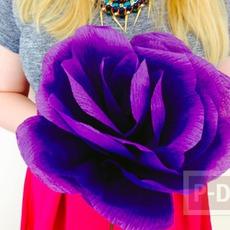 ดอกไม้ประดิษฐ์ดอกใหญ่ๆ ทำจากกระดาษย่น