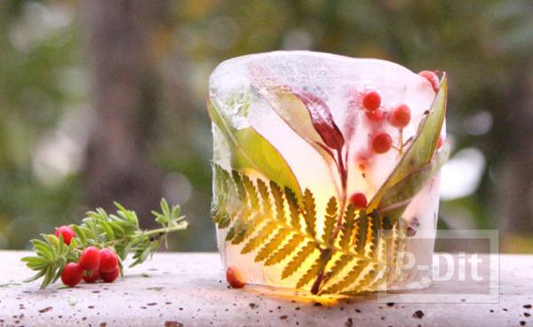 ทำที่ใส่หลอดไฟประดับโต๊ะ จากใบไม้ ดอกไม้ แช่แข็ง