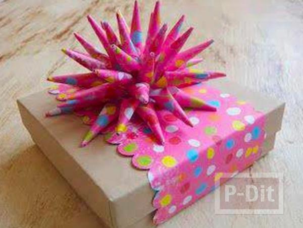 รูป 1 โบว์ประดับกล่องของขวัญสวยๆ ทำจากกระดาษสีสด