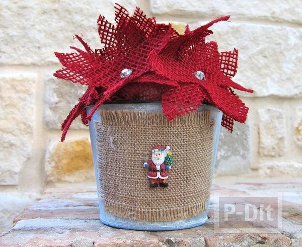 ดอกไม้วันคริสต์มาสสวยๆ ทำจากผ้าตาข่าย