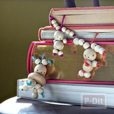 ทำที่คั่นหนังสือน่ารักๆ จากลูกปัดไม้