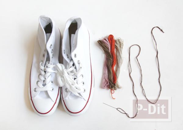 รูป 6 รองเท้า Converse (คอนเวิร์ส) ตกแต่งลายสวย