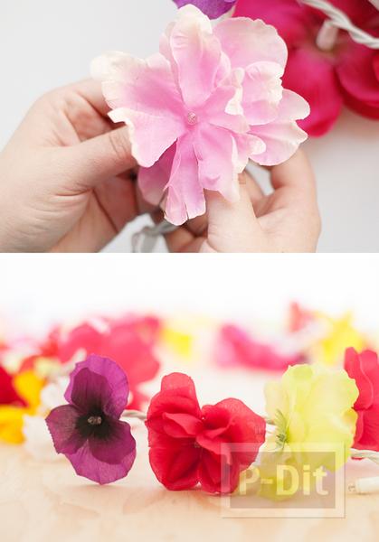 รูป 2 โมบายดอกไม้สวยๆ ทำจากดอกไม้ปลอม