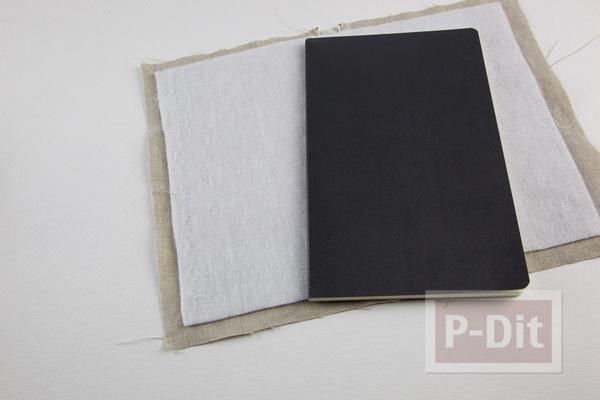 รูป 3 ห่อปกสมุดโน๊ต ประดับลายน่ารักๆ จากผ้า