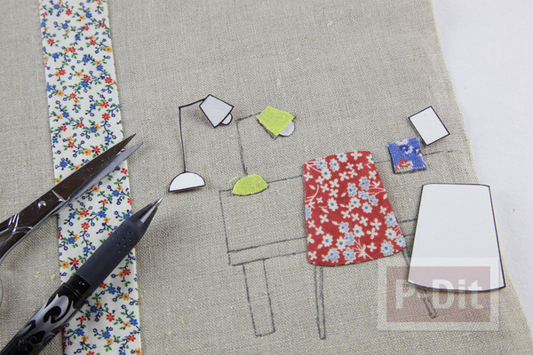 รูป 5 ห่อปกสมุดโน๊ต ประดับลายน่ารักๆ จากผ้า