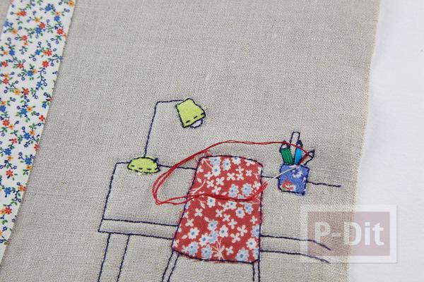 รูป 6 ห่อปกสมุดโน๊ต ประดับลายน่ารักๆ จากผ้า