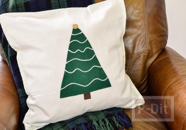 ตกแต่งหมอนอิง ต้นคริสต์มาส สีเขียว
