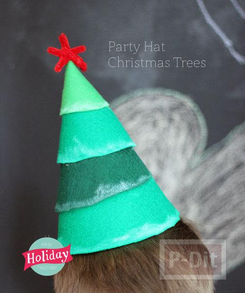 หมวกงานปาร์ตี้คริสต์มาส ตกแต่งเอง ผ้าสีสดใส