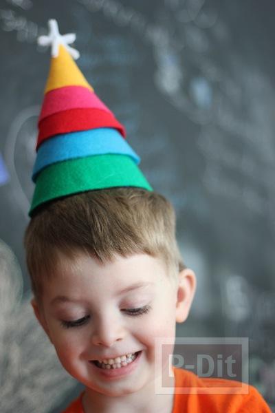 รูป 6 หมวกงานปาร์ตี้คริสต์มาส ตกแต่งเอง ผ้าสีสดใส