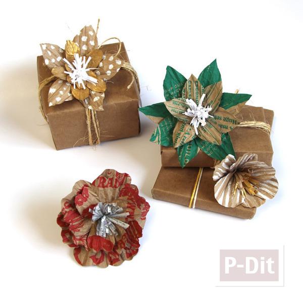 โบว์ประดับกล่องของขวัญ ทำจากถุงกระดาษ
