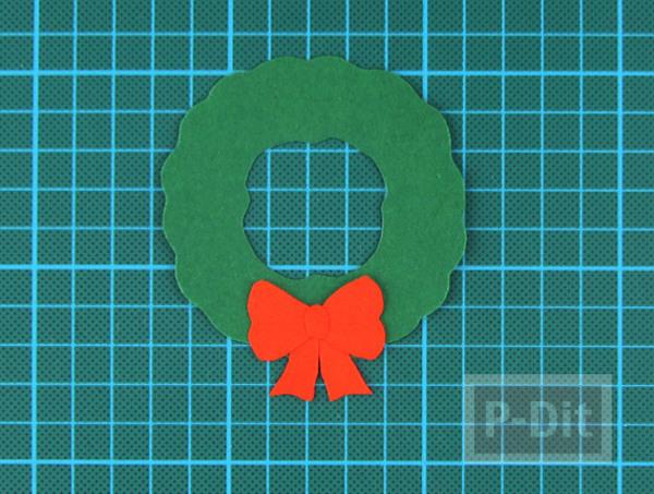 รูป 6 การ์ดวันคริสต์มาส ทำง่าย พวงหรีดสีเขียว