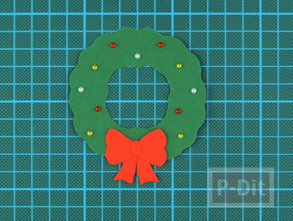 รูป 7 การ์ดวันคริสต์มาส ทำง่าย พวงหรีดสีเขียว