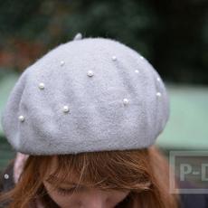 หมวกผ้า ประดับเม็ดมุกเม็ดเล็กๆ