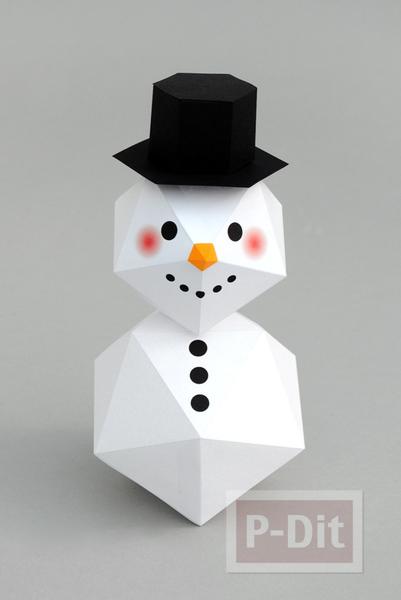 รูป 1 พับกระดาษตุ๊กตาหิมะ ประดับบ้าน