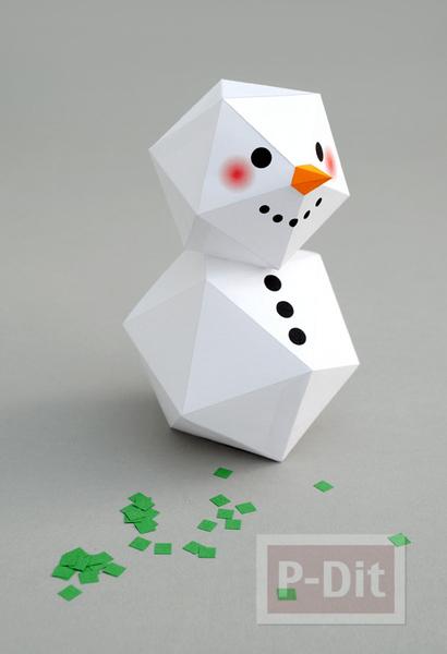 รูป 2 พับกระดาษตุ๊กตาหิมะ ประดับบ้าน