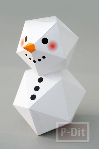 รูป 3 พับกระดาษตุ๊กตาหิมะ ประดับบ้าน