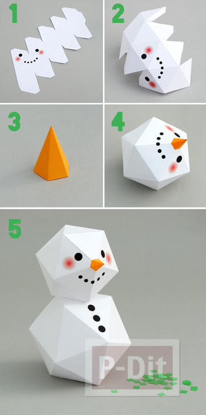 รูป 4 พับกระดาษตุ๊กตาหิมะ ประดับบ้าน
