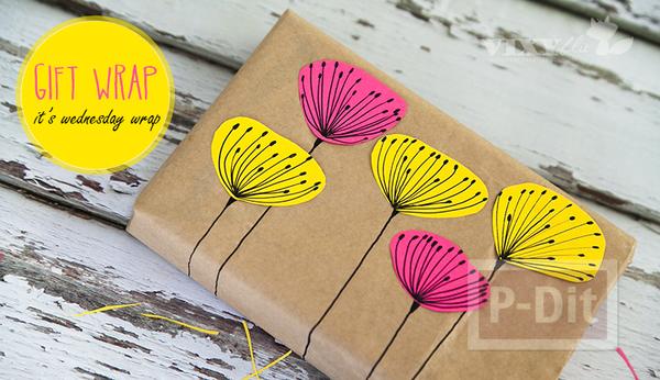 กล่องของขวัญ ห่อด้วยถุงกระดาษเก่าๆ และกระดาษสีสดใส