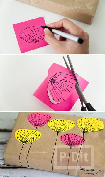 รูป 3 กล่องของขวัญ ห่อด้วยถุงกระดาษเก่าๆ และกระดาษสีสดใส