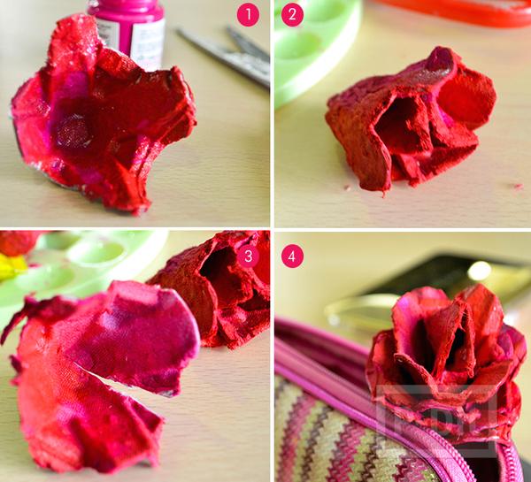 รูป 3 ดอกกุหลาบ ทำจากรังไข่กระดาษ