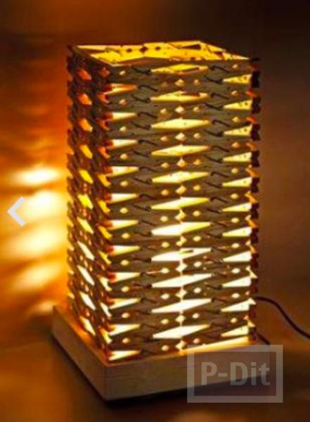 รูป 2 ไอเดียโคมไฟ ทำจากไม้หนีบผ้า