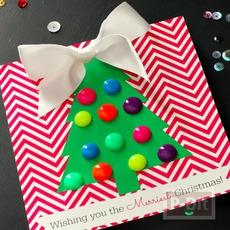 การ์ดคริสต์มาส ประดับหมุดสีสดใส
