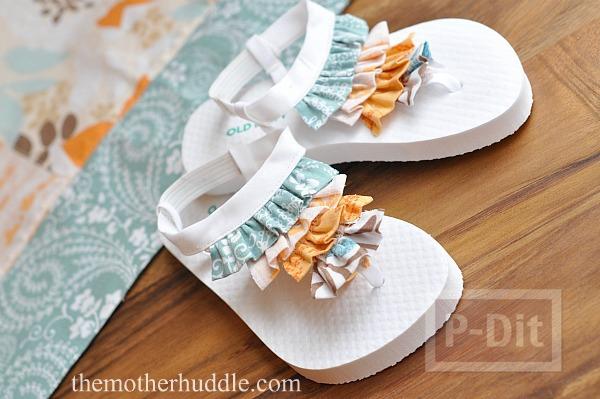 รองเท้าแตะเด็ก ตกแต่งลายสวย จากเศษผ้า
