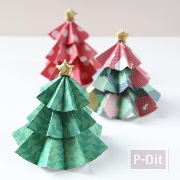 รูป 1 ต้นคริสต์มาส ทำจากกระดาษ พับเองน่ารักๆ