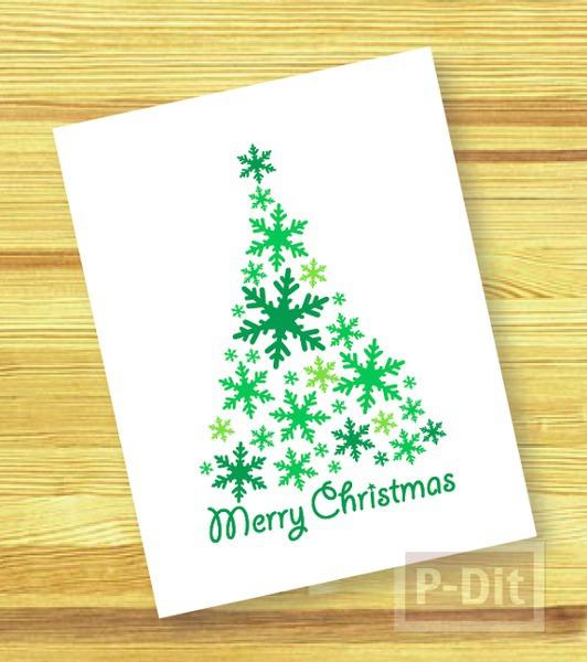 รูป 2 การ์ดคริสต์มาส ประดับเกล็ดหิมะปลอม สีเขียว-แดง