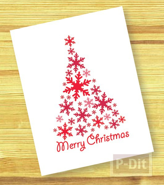 รูป 3 การ์ดคริสต์มาส ประดับเกล็ดหิมะปลอม สีเขียว-แดง