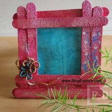 กรอบรูปสีสด ทำจากไม้ไอติมทาสี
