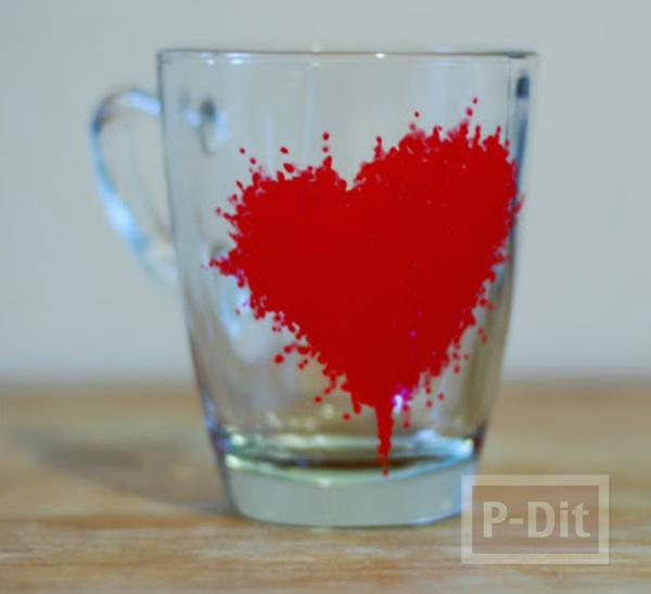 แก้วใส ตกแต่งลายสวย จากสีเมจิก แบบลบไม่ออก