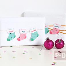 กล่องของขวัญ ประดับลายสวย ด้วยถุงเท้ากระดาษ ผูกเชือก