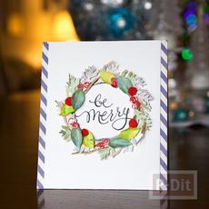 การ์ดริสต์มาส ตกแต่งลายสวย พวงหรีดดอกไม้กระดาษ