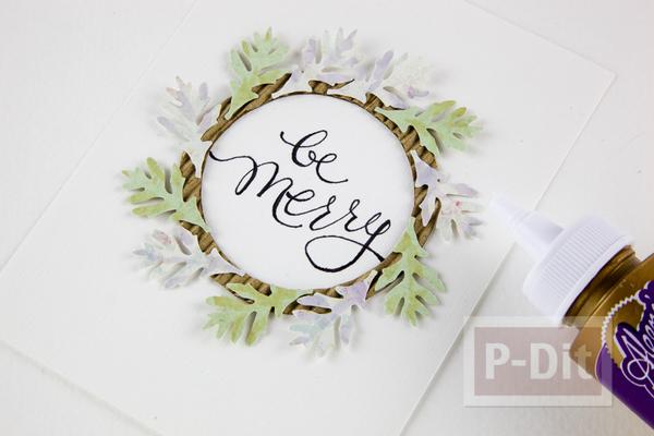 รูป 6 การ์ดริสต์มาส ตกแต่งลายสวย พวงหรีดดอกไม้กระดาษ