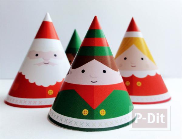 รูป 2 หมวกกระดาษ น่ารักๆ ประดับเทศกาลคริสต์มาส