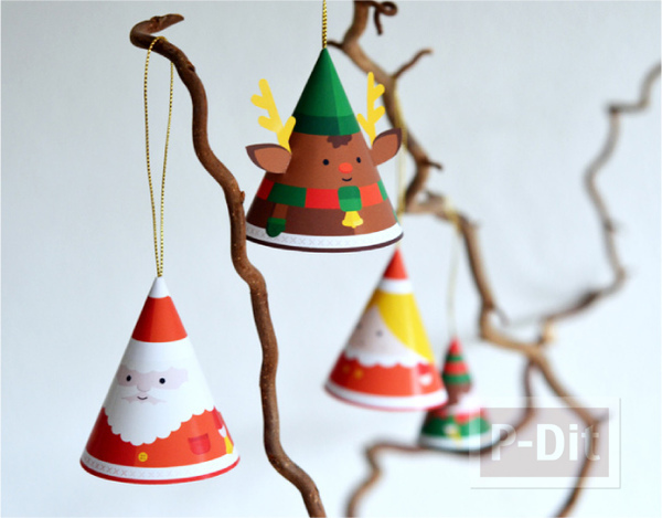 รูป 3 หมวกกระดาษ น่ารักๆ ประดับเทศกาลคริสต์มาส