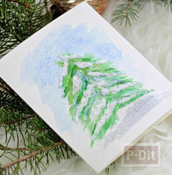 รูป 1 การ์ดคริสต์มาส สวยๆ ระบายสีน้ำ